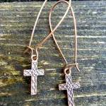 Cross Earrings, Copper Jew..