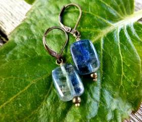 blue kyanite rectangle dangle earrings with antiqued bronze