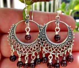 Garnet and sterling silver dangle chandelier earrings