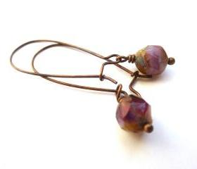 Roses are red. Pink, Rose Czech Picasso glass, copper dangle earrings