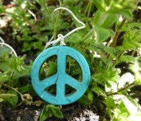 Peace sign necklace. Turquoise stone pendant, sterling silver chain, hippie, boho, bohemian jewelry