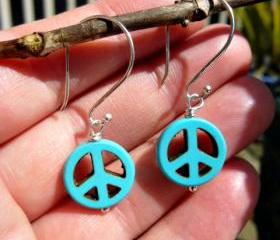 small Blue Turquoise peace sign earrings, charm, Bali sterling silver, dangle hippie earrings, boho