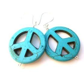 Turquoise earrings, Bali sterling silver ear wire, large hoop style, hippie earrings, boho, bohemian