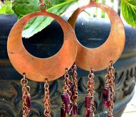 Garnet tear drops. Copper Hoop earrings.