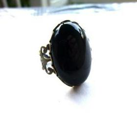 Black Oynx Natural Stone filigree Bronze Adjustable Ring