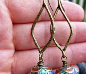 Tibetan earrings. Brass, turquoise, coral and lapis inlay bead. Blue earrings, stone earrings, jewelry, blue, bronze