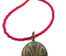 LOVE necklace. Brass metal love circle pendant with red matte glass seed beads. Beaded necklace. Boho. Hippie. simple.