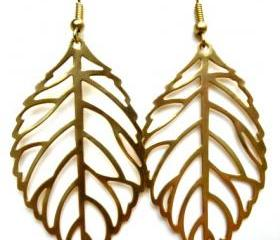 Gold leaf earrings, gold leaf jewelry, fall, leaf, leaves, bohemian, boho