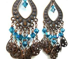 Dark blue crystal, Copper chandelier earrings bohemian jewelry, dangle jewelry, Swarovski crystal