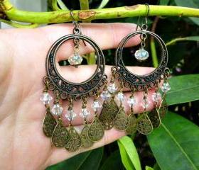 Bronze filigree hoops, clear crystal, charms chandelier boho earrings, dangle earrings, jewelry, clear crystal, Swarovski crystals