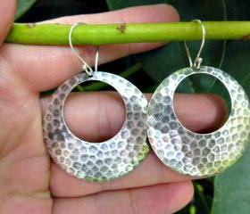 Sterling silver hammered hoop earrings. Bali silver jewelry, Silver hoops, hoop jewelry, hoop earrings