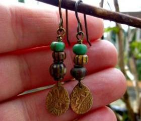 Dainty dangles. Czech glass seed beads, bronze charm, boho earrings, bohemian, indie, seed bead