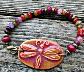 Dragonfly gemstone bracelet. Ceramic cuff, stone jewelry. Pink, purple, dragonfly, pendant, ceramic, gemstone, stone, quartz