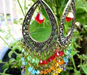 rainbow hippie bohemian boho dangle chandelier earrings Swarovski crystal and bronze