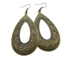 Antique brass texture teardrop hoop earrings. Bohemian jewelry, boho, jewelry, earrings, hoops