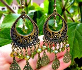 Olive green Swarovski crystal, bronze pendant, drops hoop earrings jewelry