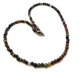 Simple bohemian Jasper gemstone necklace jewelry. multi colored stone, earth tone, necklace