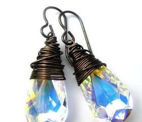 Bronze Wire Wrapped Crystal Passions Swarovski Teardops