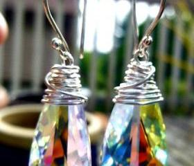 Sterling silver Wire Wrapped Crystal Passions Swarovski Teardops