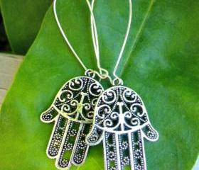 Pewter and silver. Antique silver earrings. Hamsa Hand. Boho jewelry. Fatima Hamsa jewelry. Fatima Hamsa earrings.