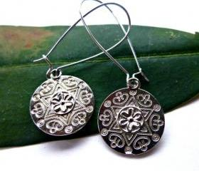 Silver medallion Flower charms with kidney ear wire. Silver earrings. Silver jewelry. dangle earrings. Boho. Bohemian.