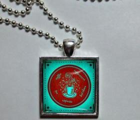 Teal and red Coffee lover. Necklace. Glass dome, metal pendant, chain. Coffee jewelry. Coffee pendant, art photo pendant, necklace, wine necklace. pendant necklace photo art, Coffee