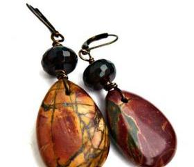 Teardrop Jasper & Quartz gemstone dangle earrings. Boho jewelry. bohemian, stone earrings. red, green, brown, jewelry. woodland