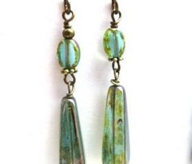 Green Czech Picasso glass and bronze earrings. Dangle. Glass Jewelry. Victorian. lightweight earrings.