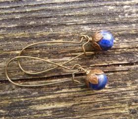 Bronze flower, round blue sodalight stone, dangle earrings, bronze, blue, jewelry, boho, bohemian, earrings, flower, blue stone