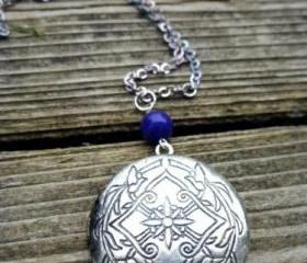 Celtic round antique silver locket, dark blue stone and chain Necklace