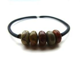 Jasper gemstone Cuff Bounce Back Bracelet. Jewelry, Memory wire bracelet