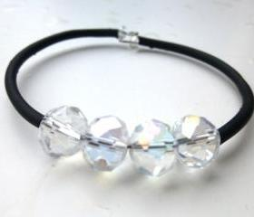 Crystal clear diamond like bling Cuff Bounce Back Bracelet. Jewelry, Memory Wire Bracelet