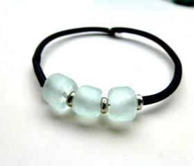 Recycled glass, Bali silver, black rubber memory wire bracelet jewelry