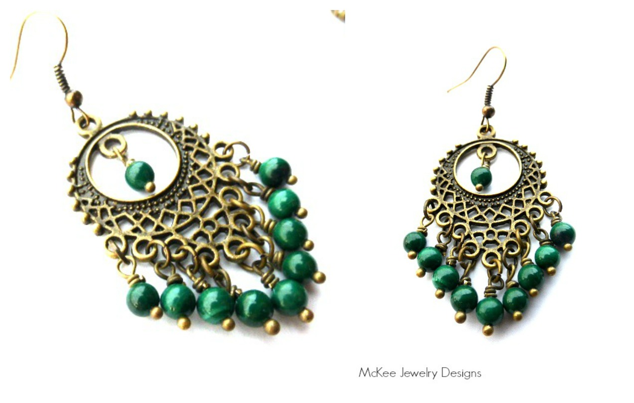 the gallery for gt green chandelier earrings