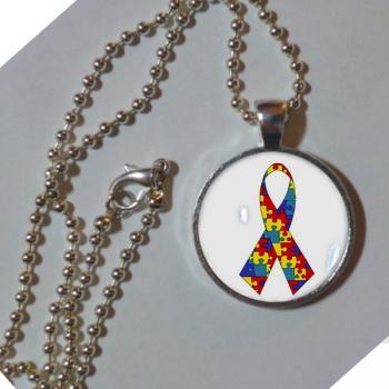 Autism awareness ribbon necklace. 1