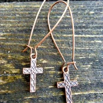 Cross earrings, Copper jewelry, Easter, Christian, cross jewelry, church, cross, copper earrings