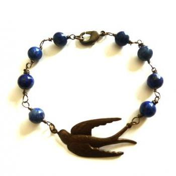 Bird bracelet, blue gemstone, wire wrapping, bird pendant jewelry, swallow bird pendant