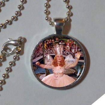 GLINDA PENDANT Good Witch of the North Necklace Pink Silver Wizard of Oz Necklace Wizard of Oz Jewelry Wizard of Oz Lover Gift